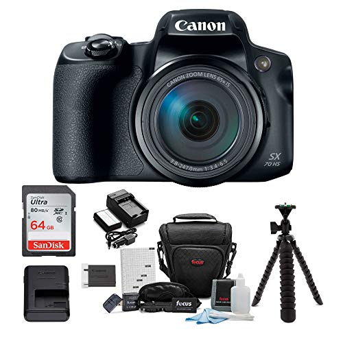 Canon PowerShot SX70 HS 65x Optical Zoom Digital Camera Bundle with 64GB Memory Card, Camera Case, Battery and Charger…