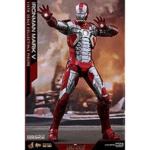 "Hot Toys Marvel Iron Man 2 Iron Man Mark V Diecast 1/6 Scale 12"" Figure"