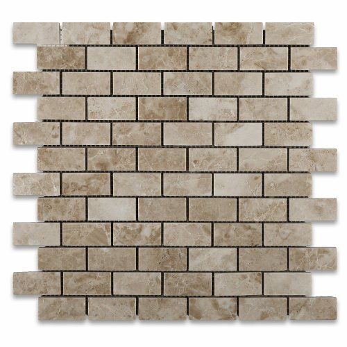 (Cappuccino Marble Polished 1 X 2 Mosaic Tile on Mesh - Box of 5 sq. ft. )
