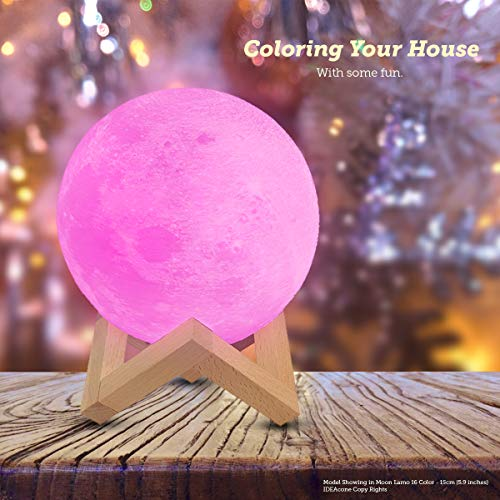 """IDEAcone 16 Colors Moon Lamp, LED Moon Light, Rechargable 3D Printing Lamp, 16 Colors Nursery Décor Night Light Luna Light With Stand & Remote Control & Pendant Tool in 5.9"""" for Kids, Birthday, Holida"""