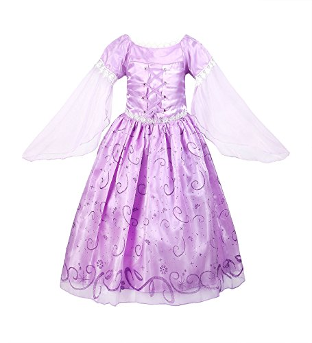 ReliBeauty Little Girl's Mesh Sleeve Princess Fancy Dress Costume (7, Lavender) (Girls Costumes)