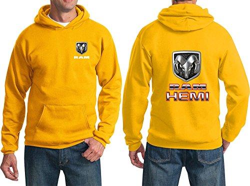 RAM Hemi Logo Dodge Emblem Mopar Badge Sweatshirt Hoodie(Front & Back), Gold, L (2011 Dodge Ram Laramie Longhorn For Sale)