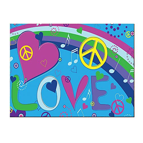 SATVSHOP Canvas painting-16Lx12W-Love Peace and Hearts Music Not Keys Typography Seventi Movement.Self-Adhesive backplane/Detachable Modern Decorative Art. ()