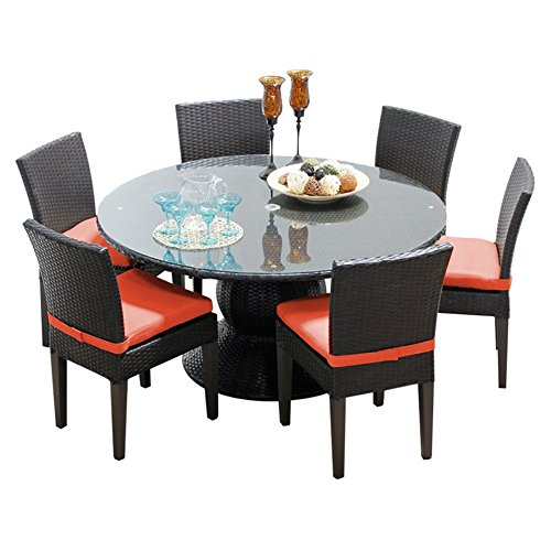 """TK Classics Napa 60"""" Outdoor Patio Dining Table with 6 Ar..."""