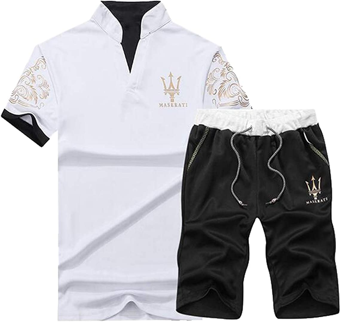 Fensajomon Men 2 Piece Casual V Neck Print T-Shirt and Drawstring Shorts Sports Tracksuits