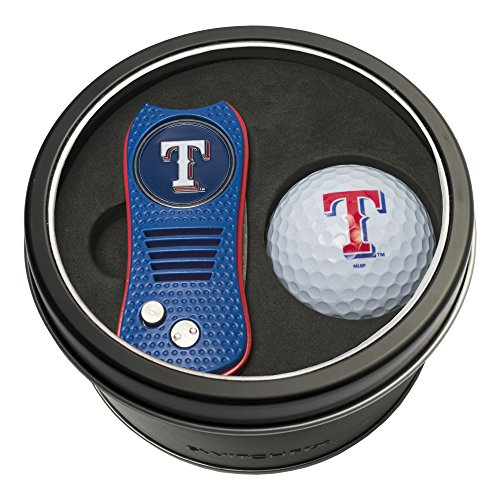 Team Golf MLB Texas Rangers Gift Set Switchblade Divot Tool with Double-Sided Magnetic Ball Marker & Golf Ball, Patented Single Prong Design, Less Damage to Greens, Switchblade Mechanism ()