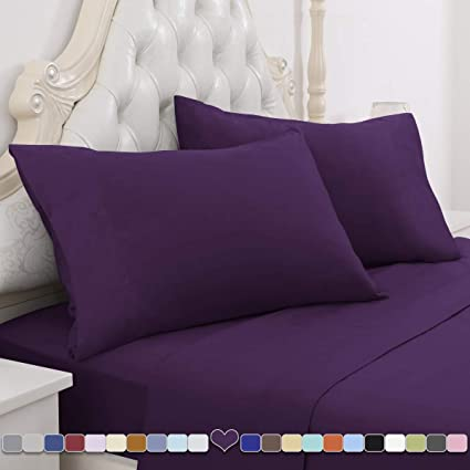 HOMEIDEAS Bed Sheets Set Brushed Microfiber 1800 Bedding Sheets Hypoallergenic Twin XL,Purple Wrinkle /& Fade Resistant 3 Piece