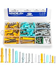 NINDEJIN Plastic Screws and Anchor Assortment, 482Pcs Plastic Self Tapping Drywall Ribbed Anchor Kit Perfect for Fixing Curtains, Calligraphy, Wall Cabinets