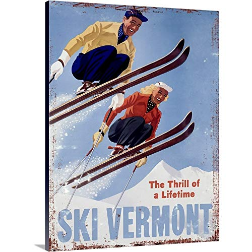 (Ski Vermont Vintage Advertising Poster Canvas Wall Art Print, 18