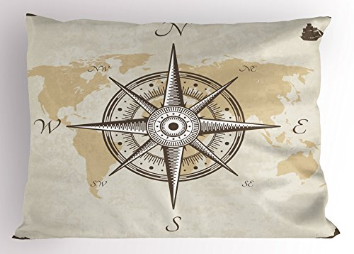 Lunarable Compass Pillow Sham, Nautical Compass on Background Old Map with Torn Border Frame Illustration Print, Decorative Standard Size Printed Pillowcase, 26 X 20 Inches, Beige Brown ()