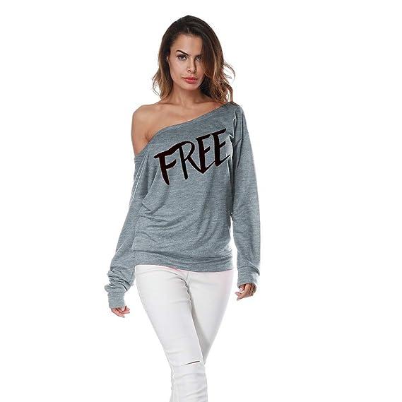 TianWlio Hoodie Pullover Damen Sweatshirt Langarmshirt Bluse  Kapuzenpullover Frauen Langer Ärmel Aus Schulter Drucken Shirt T-Shirt  Beiläufige Bluse Lose ... 67ac81de2d