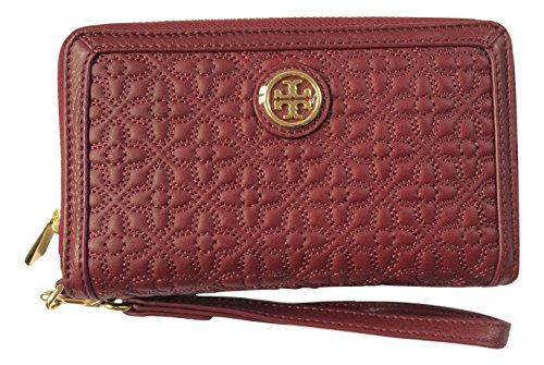 Tory Burch Bryant Quilted Leather Smartphone Wristlet (Red Agate)