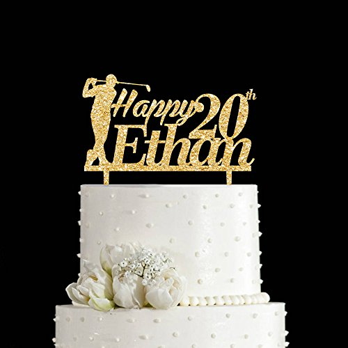 KISKISTONITE Happy Birthday 20th Cake Topper, Golf Theme,