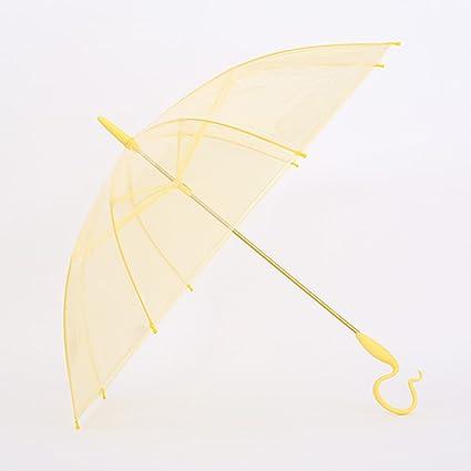 Paraguas plegable Transparente Mango largo Manual de Color Sólido Pantalla Solar de PVC Mujer a prueba
