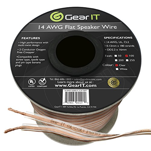 GearIT Elite Series 14AWG Flat Speaker Wire (100 Feet / 30.4 Meters) – Oxygen Free Copper (OFC) CL2 Rated In-Wall Installation for Home Theater, Car Audio, and Outdoor Use, Clear