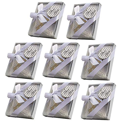 RJWKAZ Pack of 8 Gift Boxed Silver Cross Bookmarks, Bookmark Favors, Book Lovers, Wedding Favors and Gifts (Cross Bookmark)