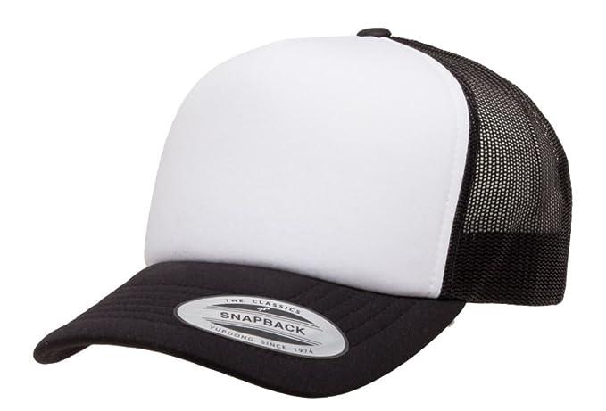 97183c564 2040USA Flexfit Curved Visor White Front Panel Foam Trucker Mesh Snapback  Hat-6320W (Black/White/Black) at Amazon Men's Clothing store: