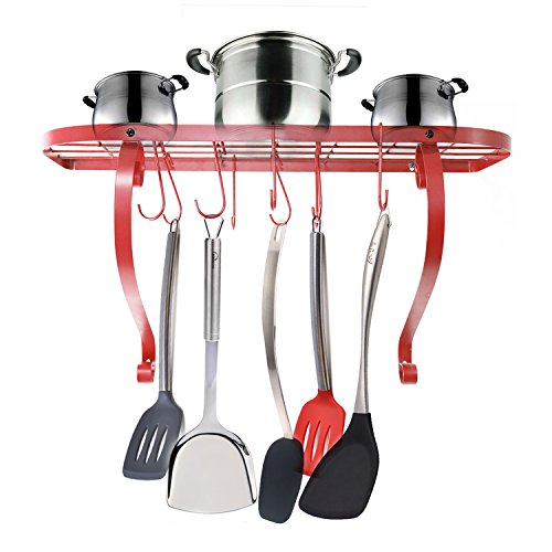 - VANRA Wall-Mounted Bookshelf Pot Rack Kitchen Wall Pan Rack with 10 Hooks (Red)