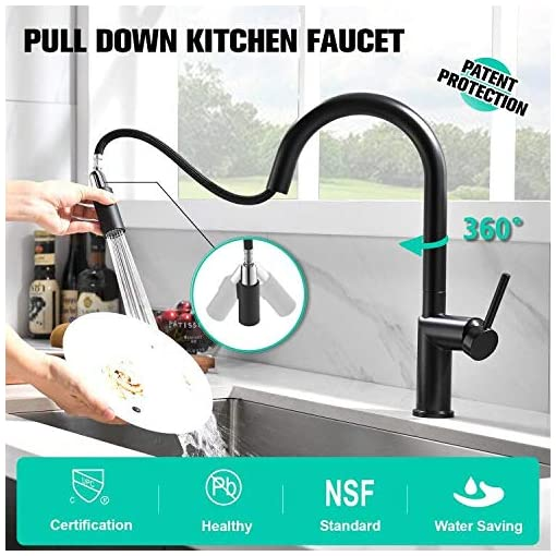 Kitchen APPASO Modern Pull Down Kitchen Faucet with Multi-Flow Sprayer Matte Black, Magnetic Docking Single-Handle High Arc Pull… modern sink faucets