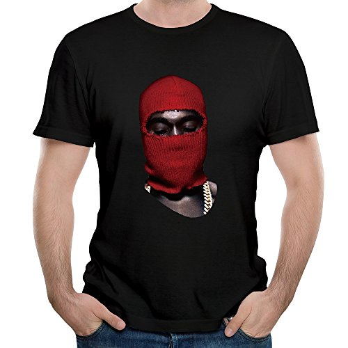 DF Man Yeezus Tour Red Ski Mask Kanye West T-shirt Black - Ski Mens Tour