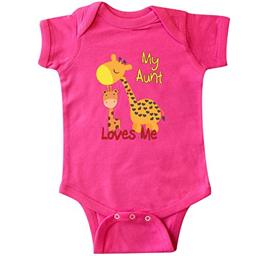 inktastic - My Aunt Loves Me Giraffe Infant Creeper 18 Months Hot Pink 28fe5