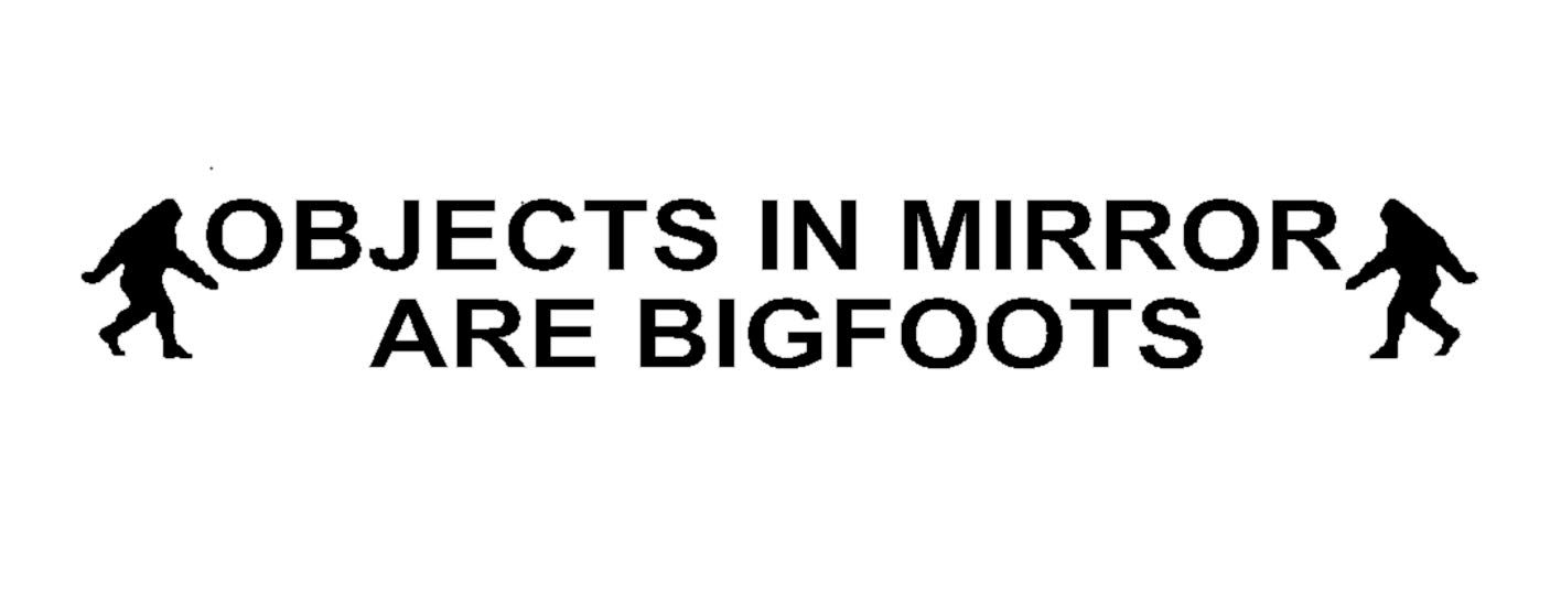 BERRYZILLA Objects in Mirror are Bigfoots Decal - Bigfoot Sasquatch Research Yettie Team Black Etched Glass Vinyl Funny Sticker