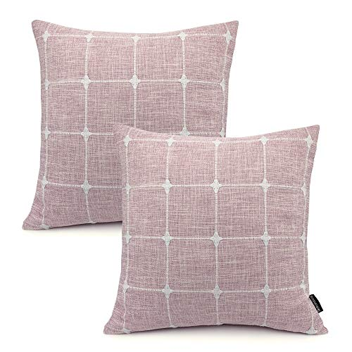 (Booque Valley Plaid Pillow Covers 17 x 17 inch, Pack of 2 Soft Polylinen Woven Texture Cushion Covers, Hand Made Check Pillow Cases for Sofa Bed Car Chair(Pink) )