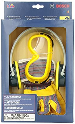 Theo Klein Bosch Toy Tool Set with Gloves, Goggles and Ear Muffs