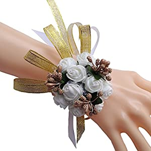 Steen Pack of 1 - wedding decorations for reception, Bridal Bridesmaid ribbon Wrist flower Wrist Corsage, Birthday party, banquet, engagement et. 54