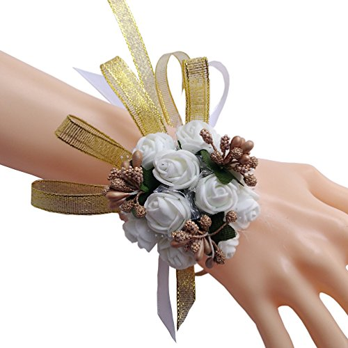 dding decorations for reception, Bridal Bridesmaid ribbon Wrist flower Wrist Corsage, Birthday party, banquet, engagement et. (Orchid Wrist Corsage)