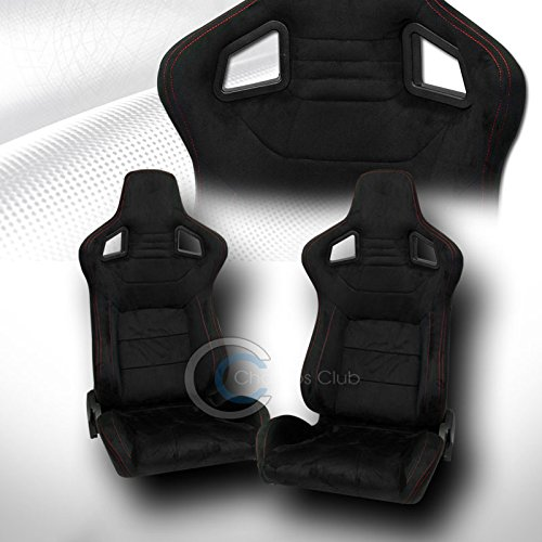 R&L Racing Universal Mu Black Suede Red Stitch Reclinable Racing Bucket Seats+Slider Pair C02 ()