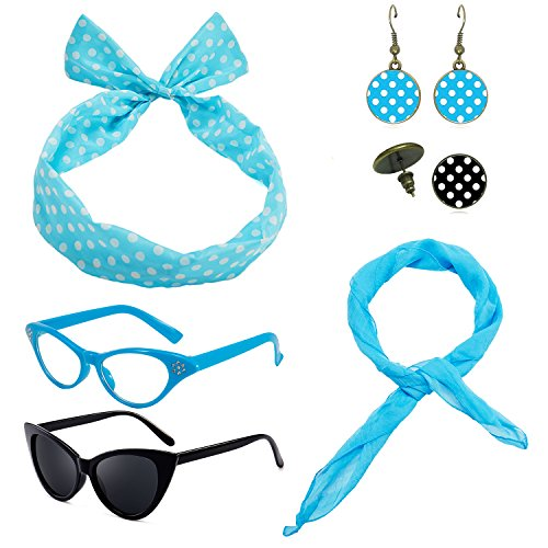 1950's Womens Costume Accessories - 50s Chiffon Scarf,Cat Eye Glasses,Bandana Tie Headband,Drop Dot Earrings -