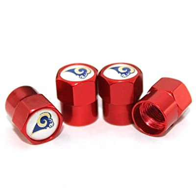 auto Parts 4 Pcs/Set Red Aluminum Tire Valve Stem Cap with Rugby Team Logo Style, Aluminum Tire Wheel Stem Air Valve Caps for Auto Car Motorcycle Bicycle (Los Angeles Rams): Automotive