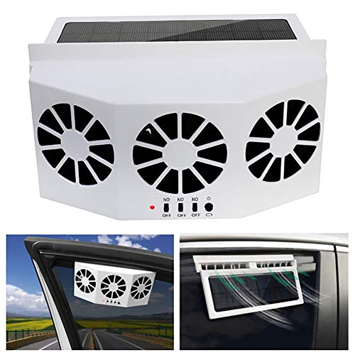 SELLMORE Solar Powered Car Ventilator, Solar Powered Car Exhaust Fan, Car Radiator,Eliminate The Peculiar Smell Inside The Car and Can Be Used for General Types of Cars (White)