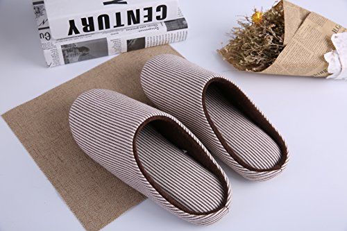 Striped Lining House Slip Foam Slippers on Men's Indoor Women's Use Outdoor Memory amp; KRIMUS Clog Shoes Brown Plush Fleece AvwSInzAq