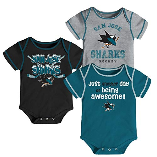 (Outerstuff NHL Newborn Infants Awesome Player 3 Piece Creeper Bodysuit Set (3/6 Months, San Jose Sharks))