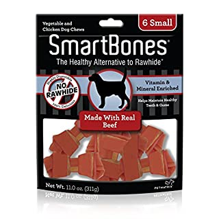 SmartBones Small Chews With Real Beef 6 Count, Rawhide-Free Chews For Dogs, SBB-02303