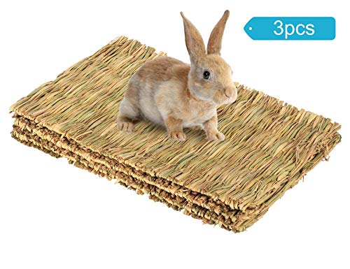 Cloud-X 3 Pack Rabbit Bunny Mat, Natural Straw Woven Grass Bed Mat Chew Toy Bed for Small Animal Like Guinea Pig Parrot Rabbit Bunny Hamster ()