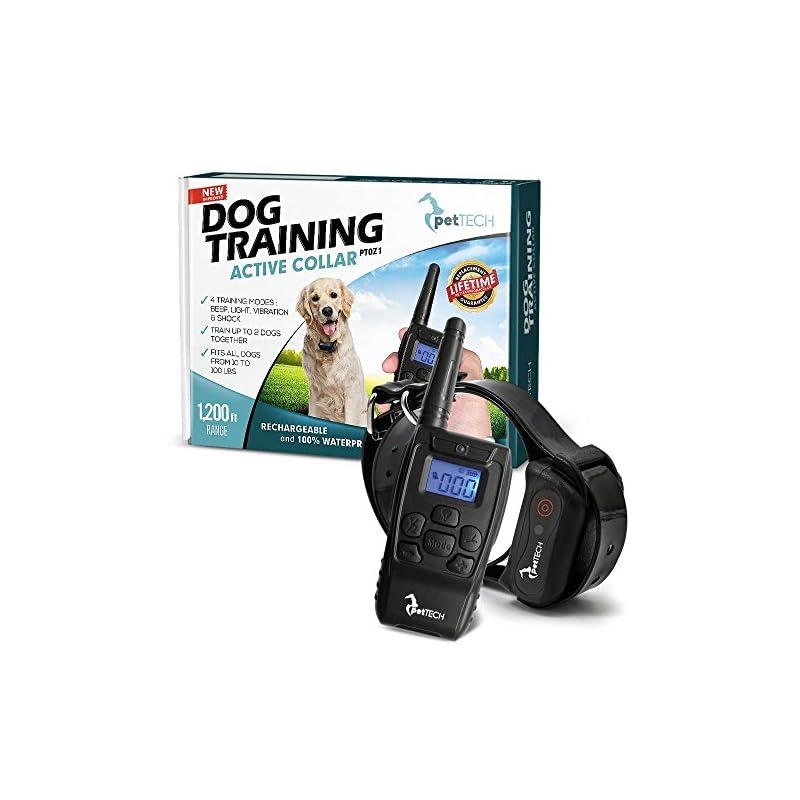 dog supplies online pettech pt0z1 premium dog training shock collar, fully waterproof, 1200ft range
