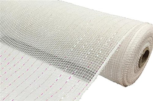 10 inch x 30 feet Deco Poly Mesh Ribbon - Value Mesh (White, Iridescent Foil) (With Decorating Christmas Mesh Tree)