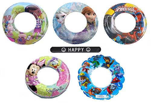 [Set of 5 Minnie Mouse Spiderman Doc McStuffins Frozen Elsa Anna Paw Patrol Disney Nickelodeon Character Pool Toys Inflatable Swim Ring Tube Toy for Kids Boys Girls with HAPPY] (Anna Costume Ideas)