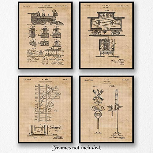 Real Railroad Photo Train (Original Railroad Train Patent Poster Prints - Set of 4 (Four 8x10) Unframed Pictures - Great Wall Art Decor Gift for Home, Office, Garage, Man Cave, School, Museum, Student, Teacher, Conductor)