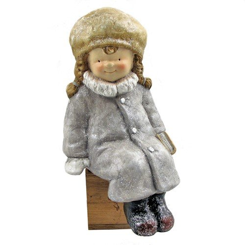 Set of 2 Children Figurines Sitting with Books, Winter ''Tushka'' Collection