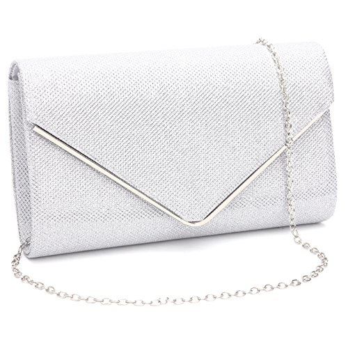 Womens Shiny Envelope Evening Clutch Bag Wedding Purse Bridal Prom Handbag Party Bag With Chain Strap Silver.