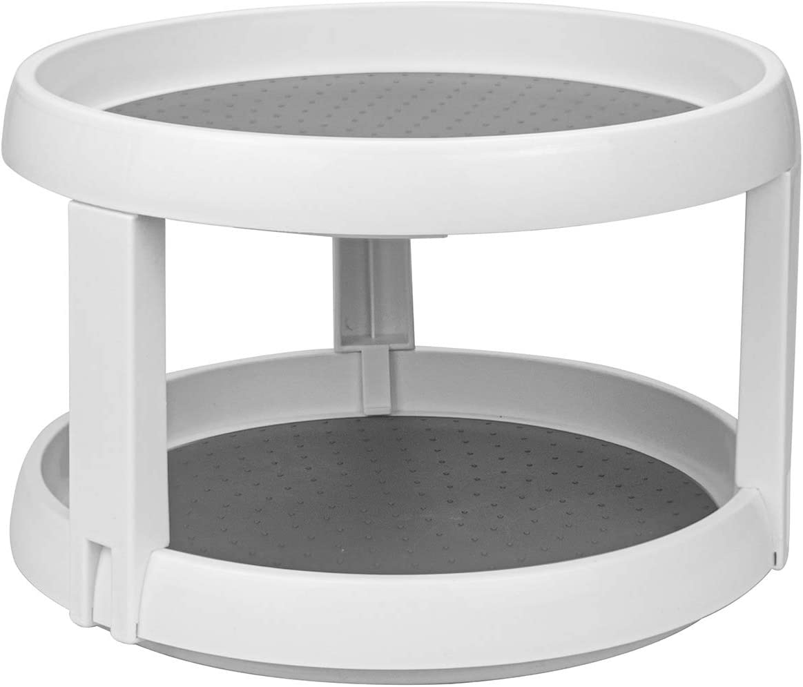 Lawei 10 Inch Plastic Lazy Susans Turntable - 2 Tier Lazy Susan Organizer Kitchen Storage Turntable for Spices, Condiments, Baking