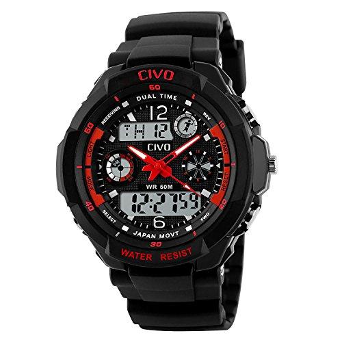 CIVO Männer Jungen Frauen Mädchen Kinder Mode Einfach LED Analog Sportuhr Digital Armbanduhr Wasserdichte Casual Militär Herren Tactical Uhr Silikonband Kalender Wecker für Herren Uhren Rot