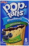 Kellogg's Blueberry Pop Tarts Unfrosted, 1 Box = 8 Pastries, (2 Pack)