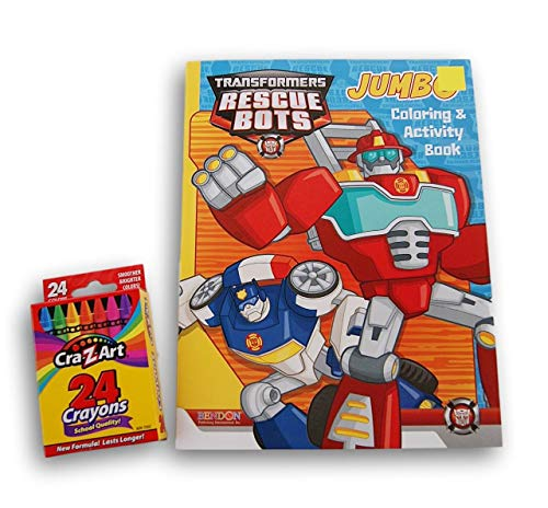 Transformers Rescue Bots 96-Page Coloring Book with Box of 24 Generic Crayons - Bundle -