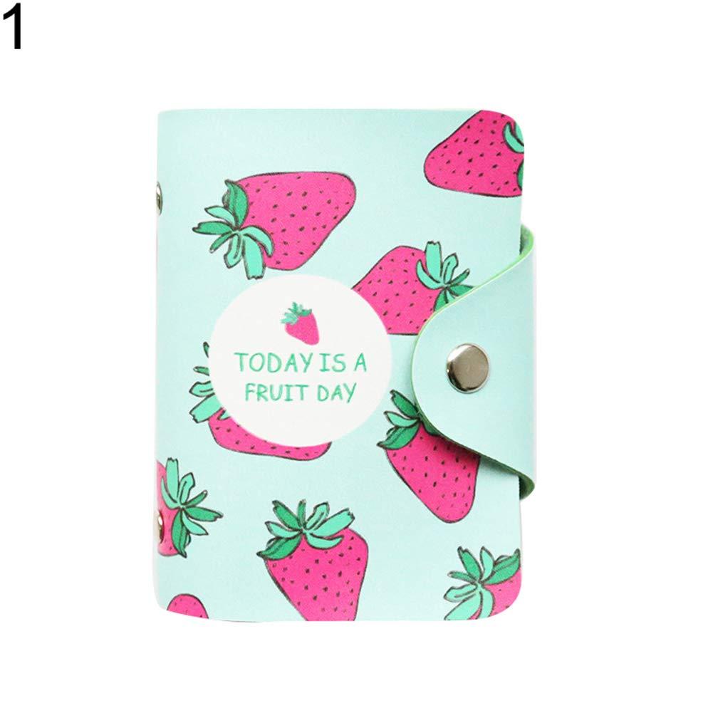Himpokejg Fashion Letter Fruit Printed Anti-degaussing Card Holder Bag Case Girls Gift-1#