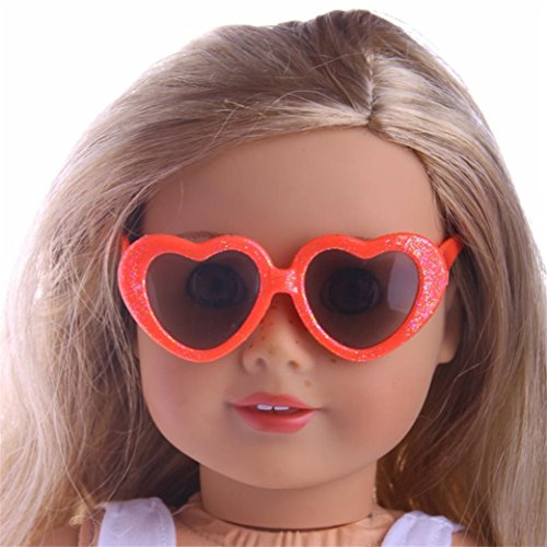 Doll Decor Accessories,Nesee Heart Plastic Frame Sunglasses for 18inch American Girl Generation Girl Dolls Clothes Dress Up - Sunglasses Zoe